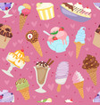 set of different ice cream seamless pattern vector image vector image