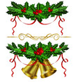 set of golden christmas bells with holly vector image
