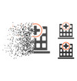 shredded dotted halftone clinic building icon vector image vector image