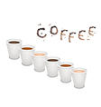 Six Kind of Coffee in Disposable Cup vector image vector image
