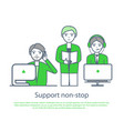 support non stop poster male and female computers vector image