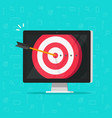 target aim with arrow in bullseye on computer vector image