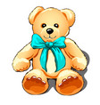 teddy bear with a turquoise bow isolated on white vector image vector image