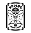 vaping shop black square emblem with skull vector image