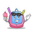 with ice cream school bag character cartoon vector image