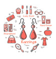 woman accessories concept with red earrings icon vector image