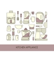 Kitchen appliance line icons set vector image