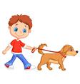 Cute cartoon boy walking with dog vector image