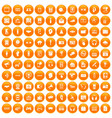 100 audio icons set orange vector image vector image
