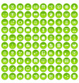 100 it business icons set green circle vector image vector image