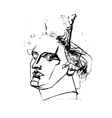 academic drawing of the head of apollo