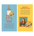 artist studio paiting materials and creative art vector image vector image