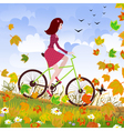 autumn girl bike vector image vector image