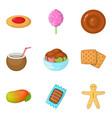 barley sugar icons set cartoon style vector image vector image