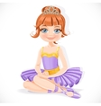 Beautiful ballerina girl in purple dress and tiara vector image vector image