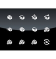 Box icons on black background vector image vector image