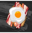 breakfast bread toast with fried egg and vector image
