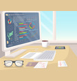 business statistics on white pc in bright office vector image vector image