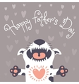 Card Happy Fathers Day with a funny puppy vector image vector image