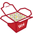 color wok and rice box icon vector image