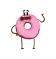 delicious donut standing and waving hand cartoon vector image