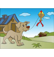 dog flying a kite vector image vector image