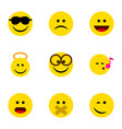 flat icon emoji set of angel happy wonder and vector image vector image