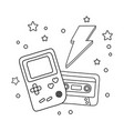 game boy cassette and lighting black and white vector image vector image