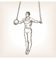 Gymnast on rings sketch style vector image vector image