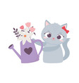 happy valentines day cute female cat with vector image vector image