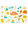 hello summer collection set flat design on white vector image vector image