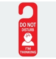 hotel tag do not disturb with thinking icon vector image