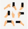 human gesture using modern smartphone set vector image vector image