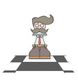 Isolated cartoon busy executive chess pawn