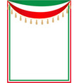 italian holiday border with the italian flag vector image vector image