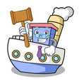 judge ship mascot cartoon style vector image vector image