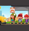 kids waiting at a bus stop vector image