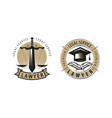 lawyer law office logo or label legal services vector image vector image