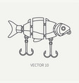 line flat fisher and camping icon fishing vector image vector image