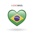 love brazil symbol flag heart glossy icon vector image