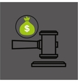 money bag with judge gavel icon design vector image