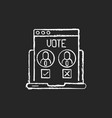 online voting chalk white icon on black background vector image
