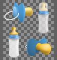 pacifier icons set realistic style vector image