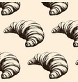 pattern with hand drawn croissant isolated vector image vector image