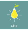 Pear lump bulb with green leaf ECO energy idea vector image vector image