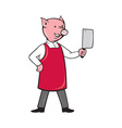 pig butcher holding meat cleaver knife vector image vector image