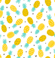 Pineapple and hearts seamless pattern vector image