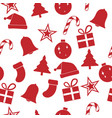 red christmas ornament seamless pattern vector image vector image