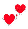 red heart couple in love happy valentines day vector image