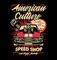 shirt design american muscle car speed shop vector image vector image